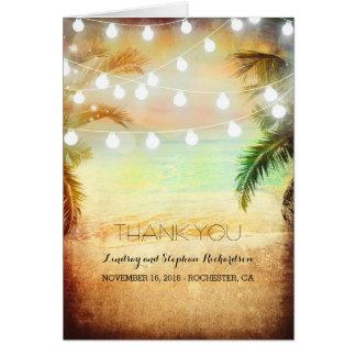 Strand-Sonnenuntergang-romantische Hochzeit danken Mitteilungskarte
