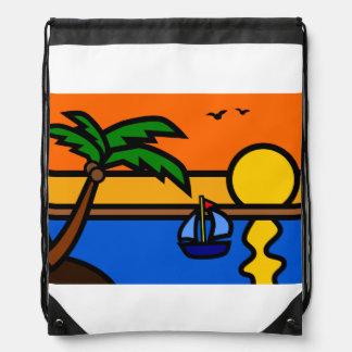 Strand-Sonnenuntergang-Szene mit Segelboot Sportbeutel