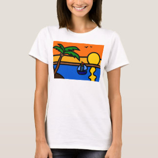 Strand-Sonnenuntergang-Szene mit Segelboot T-Shirt