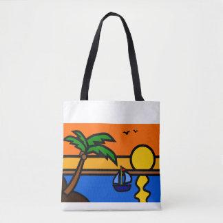 Strand-Sonnenuntergang-Szene mit Segelboot Tasche