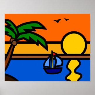 Strand-Sonnenuntergang-Szene mit starken Linien Poster