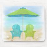 Strand-Stühle, Regenschirm, Strand-Mausunterlage Mauspad