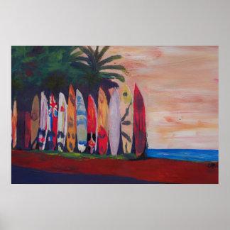 Strand-Szenen-Brandungs-Brett-Zaun-Wand an der Poster
