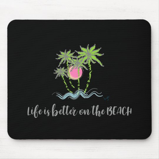 Strand-tropisches Art-Sommer-Grafik-Schwarzes Mousepads