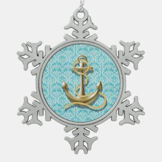 Strand-Türkisdamast-Seemann-Seeanker Schneeflocken Zinn-Ornament