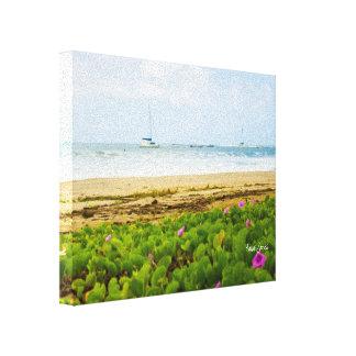 Strand u. Boote Hanalei Bucht-Kauais Hawaii Leinwanddruck