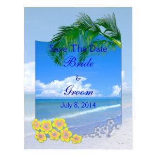 Strand und blaue Himmel, die Save the Date Wedding Postkarte