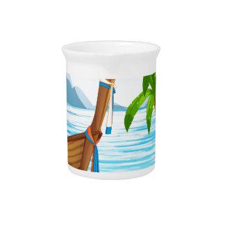Strand und Boot Krug
