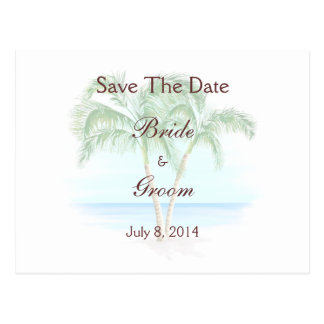 Strand-und Palmen, die Save the Date Wedding sind Postkarte