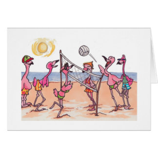 Strand-Volleyball-Flamingo Notecard Karte