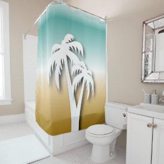 Strand-weiße Silhouette-Palmen Duschvorhang