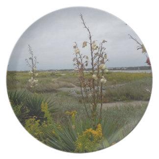 Strand-Wolken und Wildblumen Teller