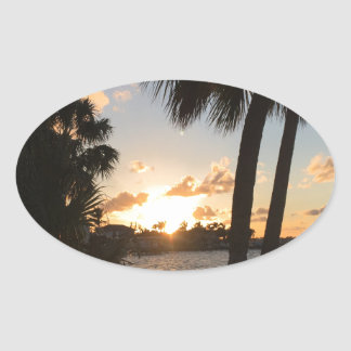 Strand-Zuhause Ovaler Aufkleber