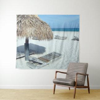 Strandcabana-tropische landschaftliche Kunst Wandteppich