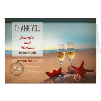 Strandhochzeit danken Ihnen Karten