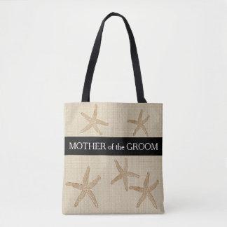 Strandhochzeit Mutter von Bräutigamsandleinwand Tasche