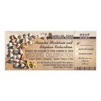 Strandhochzeits-Boardingdurchlaufkarten - 10,2 X 23,5 Cm Einladungskarte