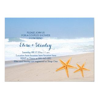 Strandhochzeits-Paardusche der Starfish moderne 12,7 X 17,8 Cm Einladungskarte