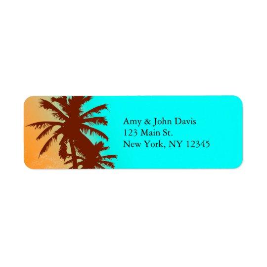 Strandhochzeits-Rücksendeadressen-Aufkleber beach2 Rücksendeetikett