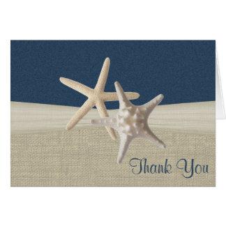 Strandleinwand und Starfish danken Ihnen Grußkarte