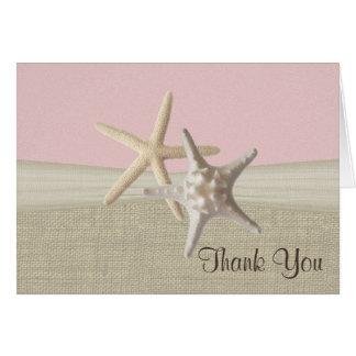 Strandleinwand-und Starfish-Rosa danken Ihnen Grußkarte