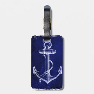 Strandschicker Seemarineblauküstenanker Gepäckanhänger