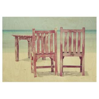 Strandstuhl-Aruba-Feiertag Holzposter