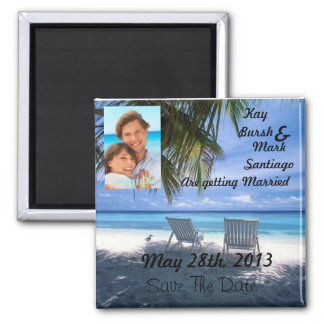 Strandstuhl Save the Date, der Magneten w/photo! Quadratischer Magnet