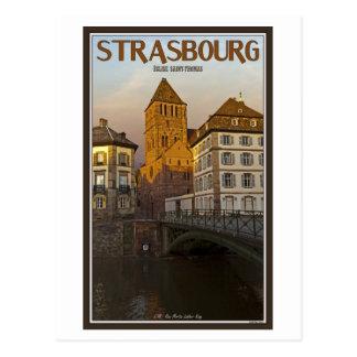 Strasboug - kranker Fluss und St Thomas Postkarte