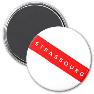 Straßburg-Stadtfrankreich-Landesflaggetextname Runder Magnet 7,6 Cm