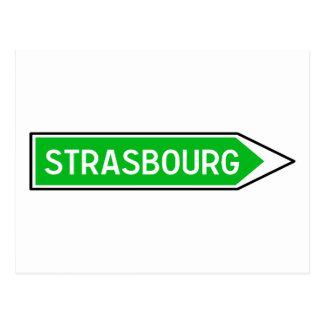 Straßburg, Verkehrsschild, Frankreich Postkarte