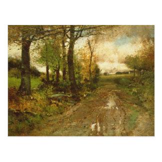 Straße durch das Holz Postkarte