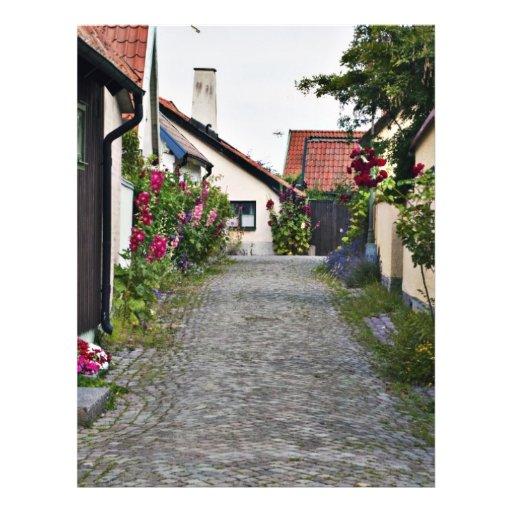 Straße in altem Visby Schweden Flyer Druck