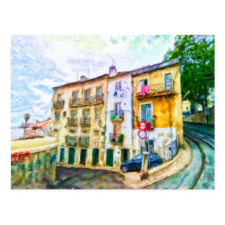 Straße in Lissabon Portugal Postkarte