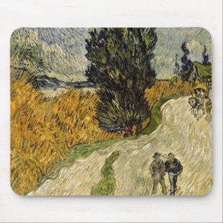 Straße Vincent van Goghs | mit Zypressen, 1890 Mousepad