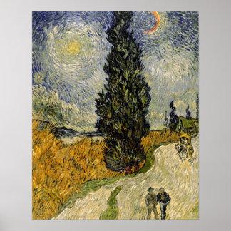 Straße Vincent van Goghs | mit Zypressen, 1890 Poster