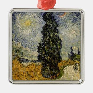 Straße Vincent van Goghs | mit Zypressen, 1890 Quadratisches Silberfarbenes Ornament