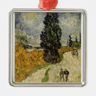 Straße Vincent van Goghs | mit Zypressen, 1890 Silbernes Ornament
