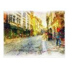 Straßen alten Prag-Aquarells Postkarte