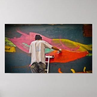 Straßen-Künstler-Handelszentrum-Malerei in Buenos Poster