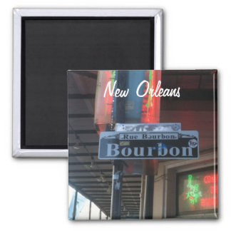 Straßen-Magnet New Orleans Louisiana Bourbon Quadratischer Magnet