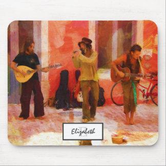 Straßen-Musiker, die Gitarren-Mandoline und Flöte Mousepad