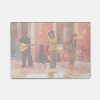 Straßen-Musiker, die Gitarren-Mandoline und Flöte Post-it Klebezettel
