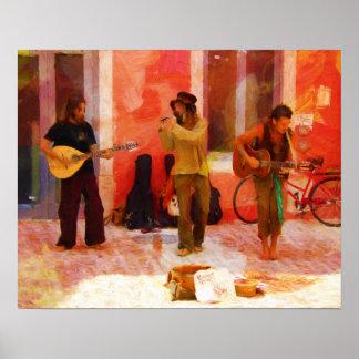 Straßen-Musiker, die Gitarren-Mandoline und Flöte Poster