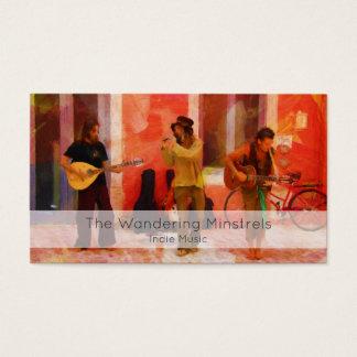 Straßen-Musiker, die Gitarren-Mandoline und Flöte Visitenkarte
