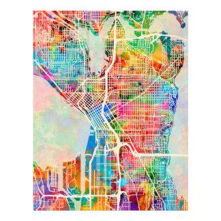 Straßen-Stadt-Karte Seattles Washington 21,6 X 27,9 Cm Flyer