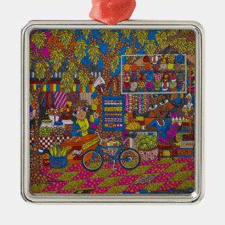 Straßen-Stall Quadratisches Silberfarbenes Ornament