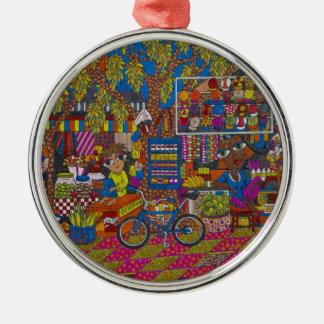 Straßen-Stall Rundes Silberfarbenes Ornament
