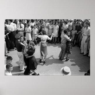 Straßen-Tanz, Crowley, Louisiana, Dreißigerjahre Poster