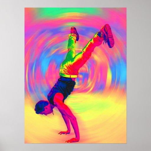 Straßen-Tanzen, Regenbogen, radial Plakat